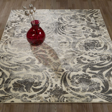 Urban Damask Light Grey Area Rug - 5X7