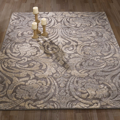 Urban Damask Dark Grey Area Rug - 5X7 - Luna Furniture