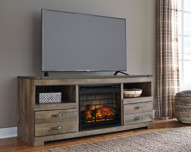 Trinell Brown Large TV Stand w/Fireplace Option - Luna Furniture