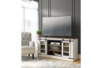Wystfield White/Brown Large TV Stand - Luna Furniture