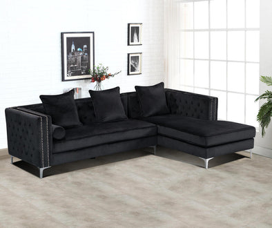 Ava Black Velvet RAF Sectional
