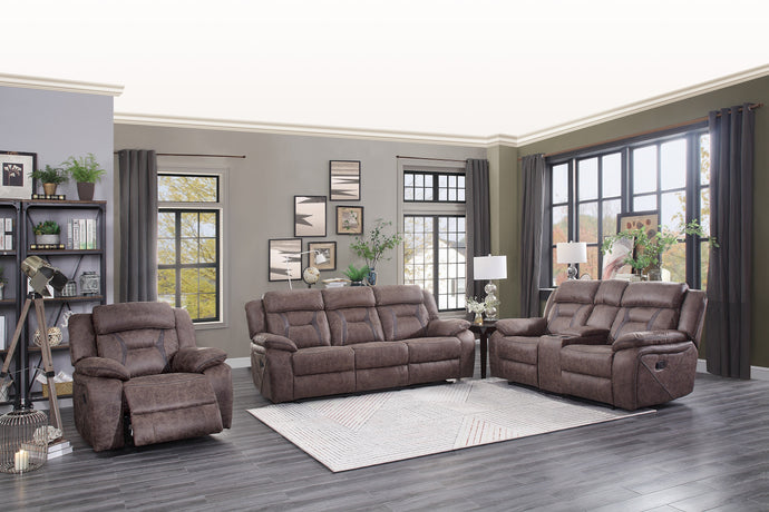 [MONTHLY SPECIAL] Atel Brown Double Reclining Living Room Set | 9989 - Bellaria Furniture HomeStore