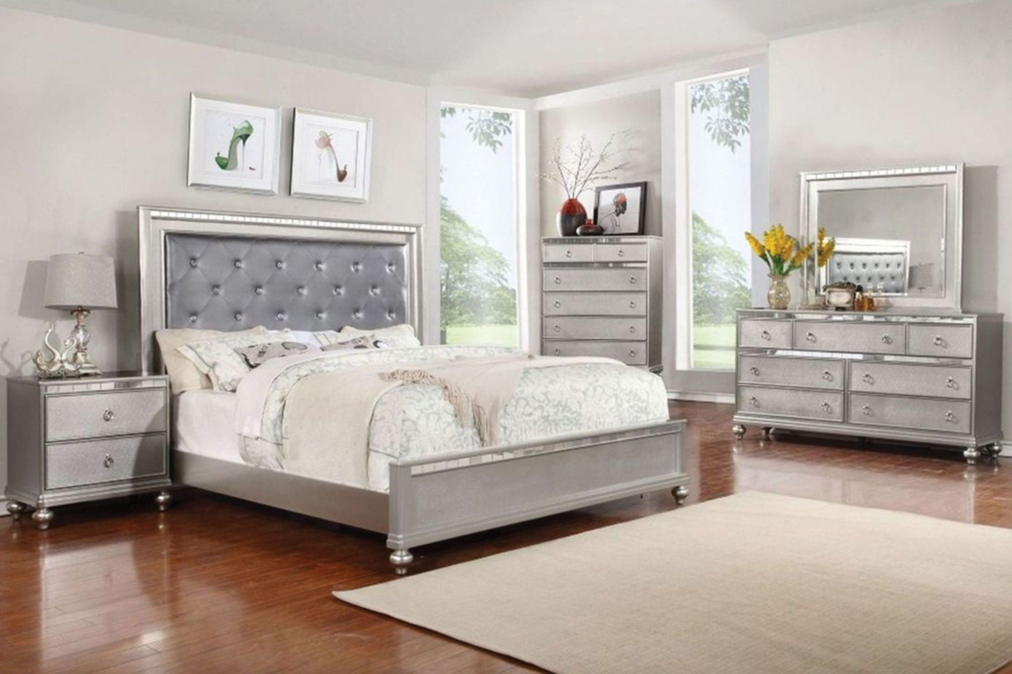 Christopher Silver Mirrored Queen Panel Bed | CR450