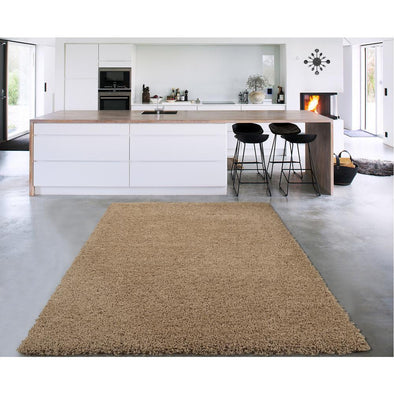Cozy Solid Beige Shaggy Area Rug - 5X7