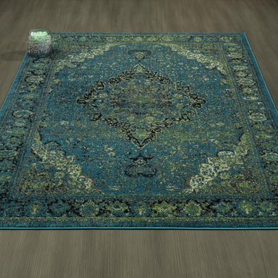 CIT3176 - City Faded Oriental Medallion Blue/Green Area Rug - 5X7