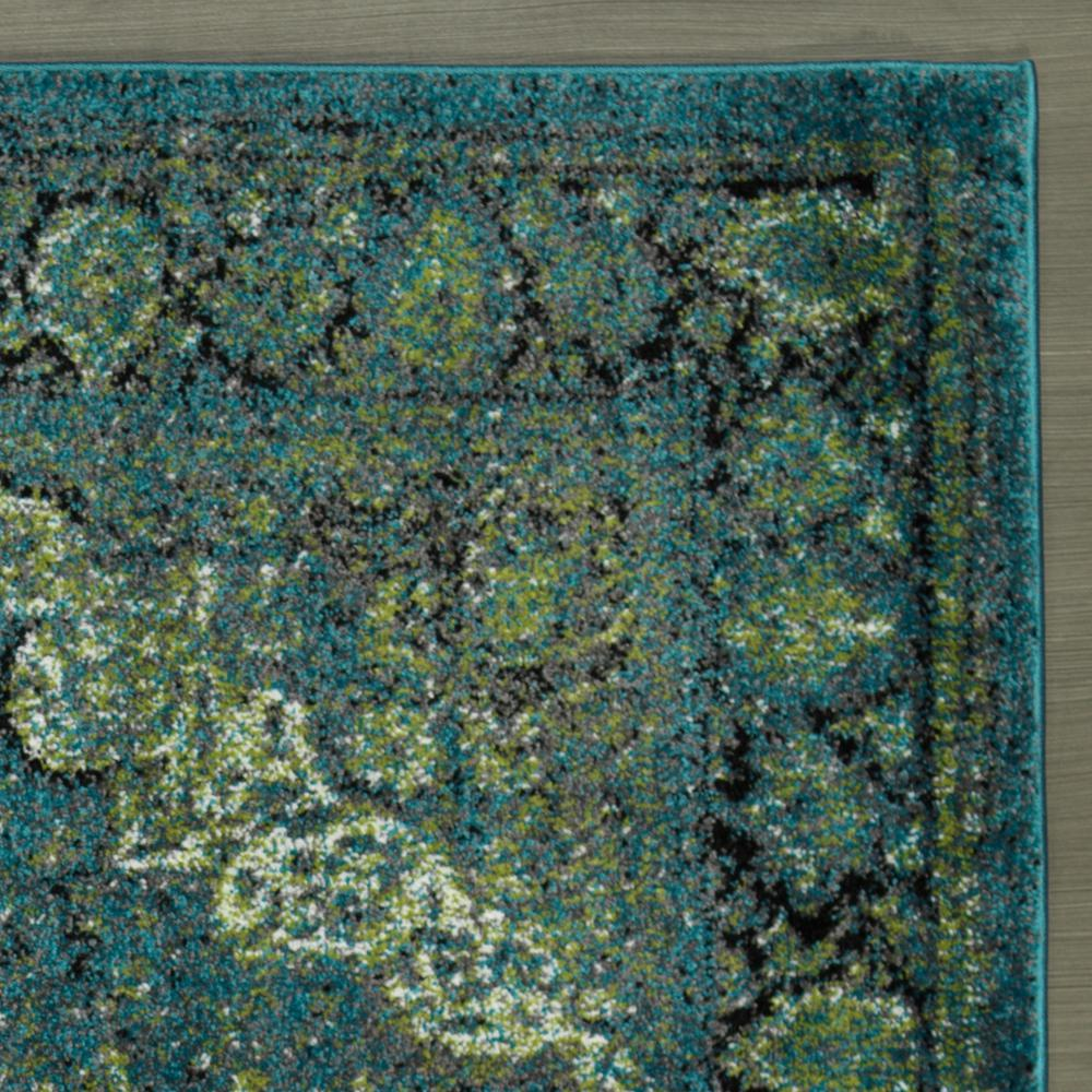 Cit3176 City Faded Oriental Medallion Bluegreen Area Rug 5x7