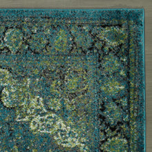 Load image into Gallery viewer, City 3176 Faded Oriental Medallion Blue/Green Area Rug - 5X7 - Bellaria Furniture HomeStore