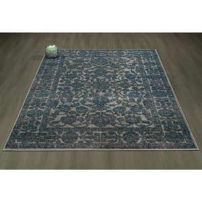 Urban Oriental Mahal Blue Grey Area Rug - 5X7 - Luna Furniture