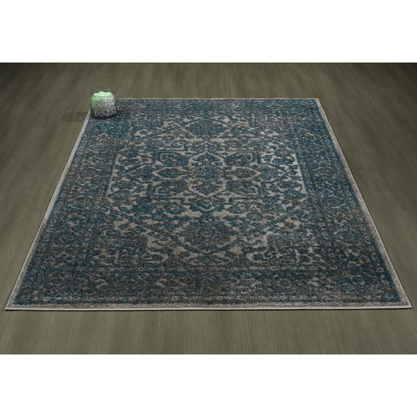 Urban Oriental Medallion Blue Grey Area Rug - 5X7