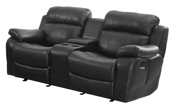 Marille Black Bonded Leather Reclining Loveseat - Luna Furniture