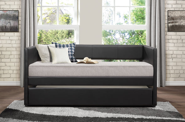 Adra Black Twin Daybed with Trundle - Luna Furniture