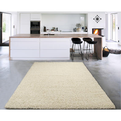 Cozy Solid Ivory Shaggy Area Rug - 5X7