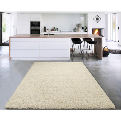 Cozy Solid Ivory Shaggy Area Rug - 8X10 - Luna Furniture