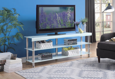 "Hakea White Glass-Top 62"" TV Stand - Luna Furniture"