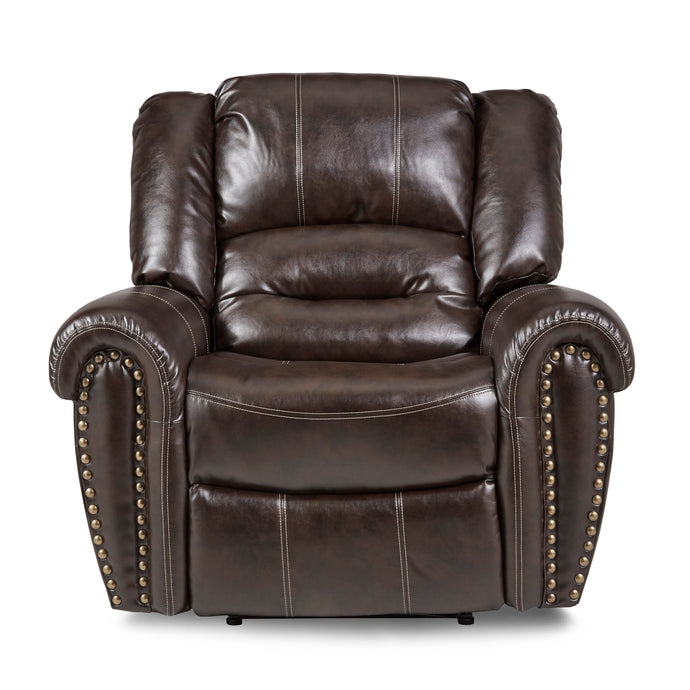 Center Hill Brown Bonded Leather Glider Reclining Chair | 9668 - Bellaria Furniture HomeStore