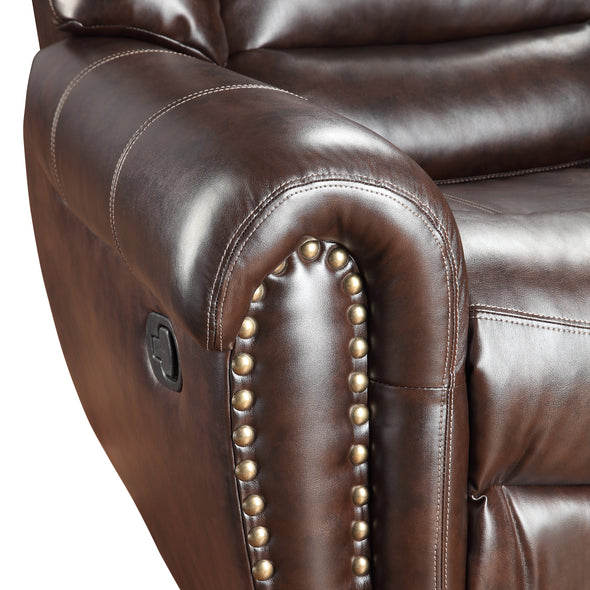 [SPECIAL] Center Hill Brown Bonded Leather Reclining Living Room Set - Luna Furniture