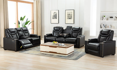 [EXCLUSIVE] Echo Black 3-Piece Power Reclining Living Room Set