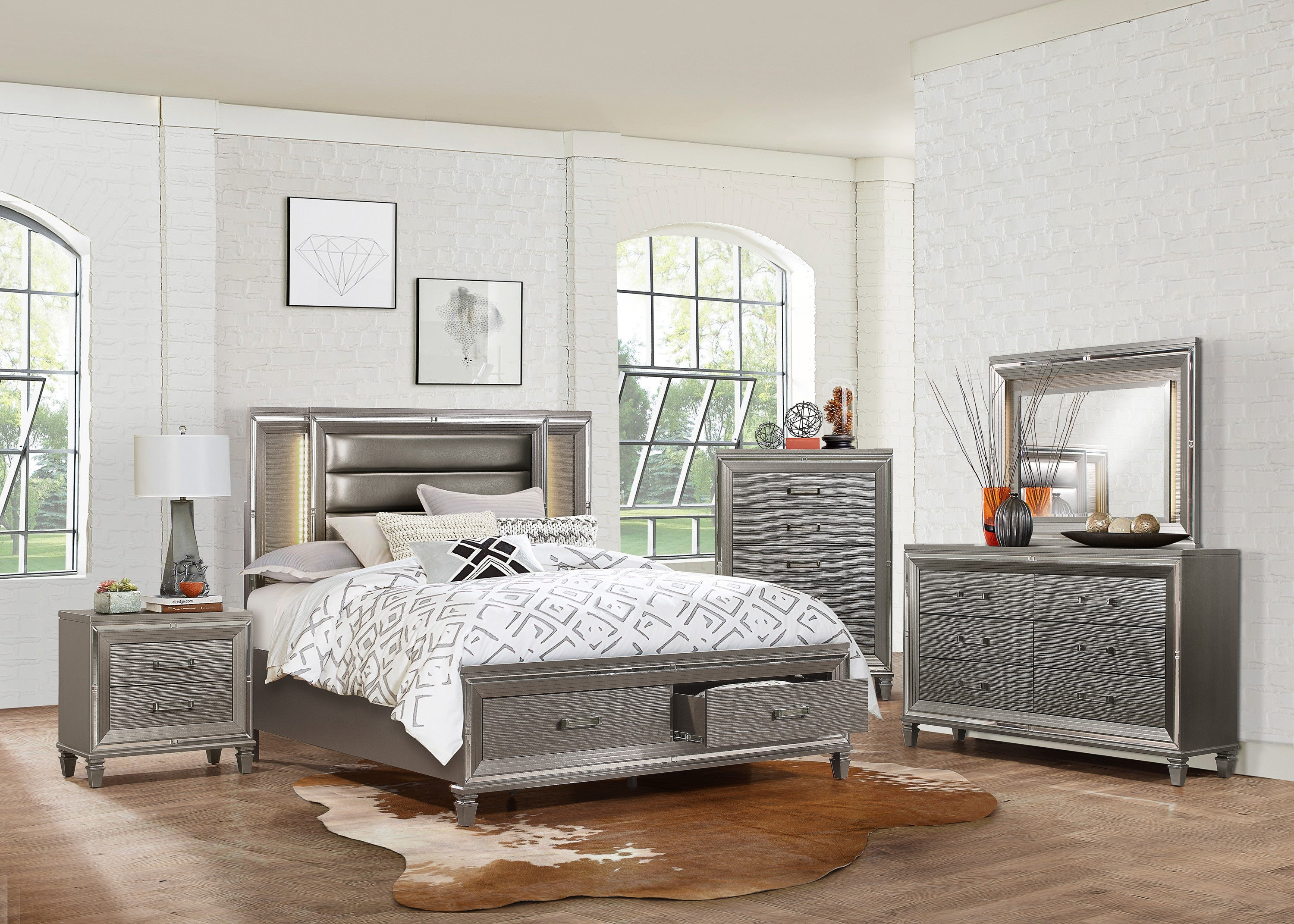 Tamsin Metallic Silver Gray Led Storage Platform Bedroom Set From Homelegance Luna Furniture