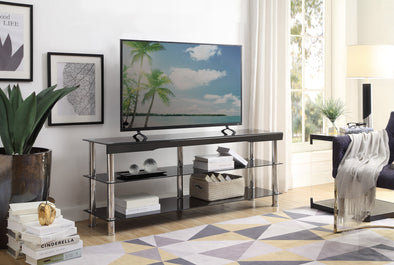 "Hakea Black Glass-Top 62"" TV Stand - Luna Furniture"