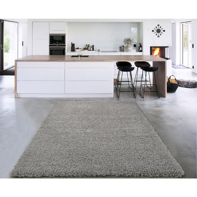 Cozy Solid Grey Shaggy Area Rug - 5X7