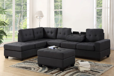 [SPECIAL] Heights Charcoal Gray Reversible Sectional with Storage Ottoman - Luna Furniture
