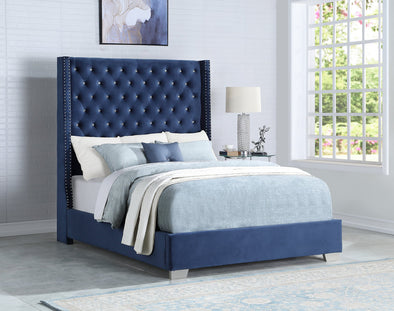 [SPECIAL] Diamond Tufted Velvet Blue 6 FT King Bed - Luna Furniture