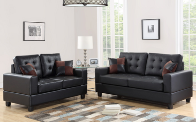 [SPECIAL] Black Faux Leather Sofa & Loveseat | 7855