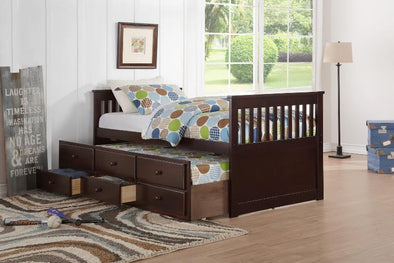 Happy Espresso Full Captain Bed with Storage Drawers & Twin Trundle - Luna Furniture