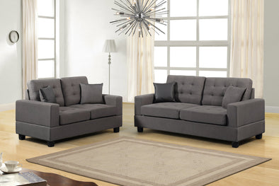 [HOT DEAL] Poly Linen Brownish Gray Sofa & Loveseat | HH8855