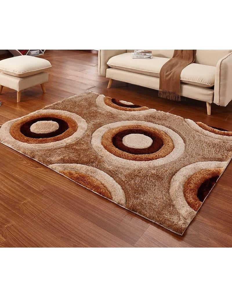 Casa Regina 3D Shag Collection - Abstract Circles Brown Beige Soft Shag Area Rug - Bellaria Furniture HomeStore