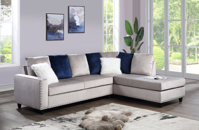 Cindy Gray Velvet Reversible Sectional - Luna Furniture