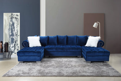 Kim Blue Velvet Double Chaise Sectional