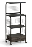 Kitchen Shelf Black/Gray on Casters - Luna Furniture
