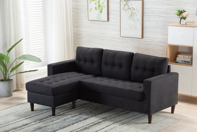 Kingdom Black Reversible Sofa Chaise
