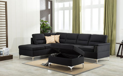 Larry Black Sectional with Storage Ottoman