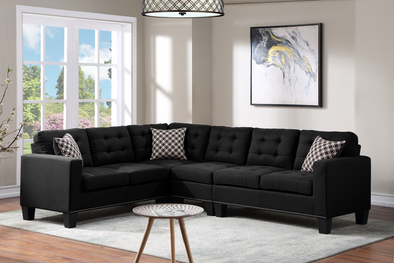 Logan Black Reversible Sectional
