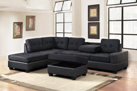 Heights Black/Black Reversible Sectional with Storage Ottoman *** - Luna Furniture