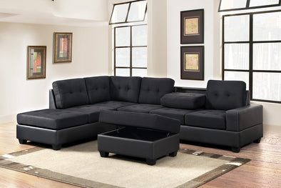 [SPECIAL] Heights Black/Black Reversible Sectional with Storage Ottoman - Luna Furniture