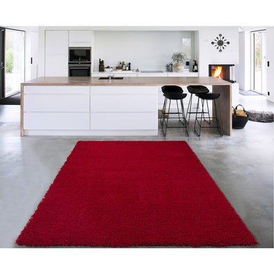 Cozy Solid Dark Red Shaggy Area Rug - 5X7