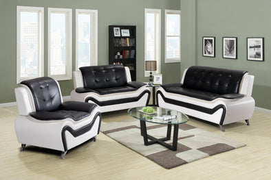 [SPECIAL] Tilda White/Black 3-Piece Living Room Set | 8163