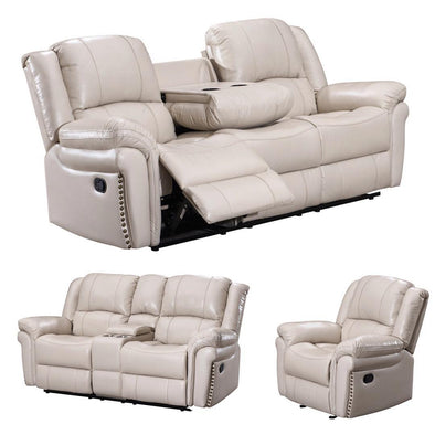 [SPECIAL] Monrose White 3-Piece Reclining Living Room Set
