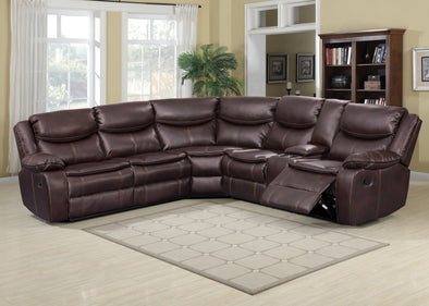 Kelliwood Brown Leather Oversized Reclining Sectional