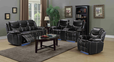 [EXCLUSIVE] Evolution Black 3-Piece LED Reclining Living Room Set