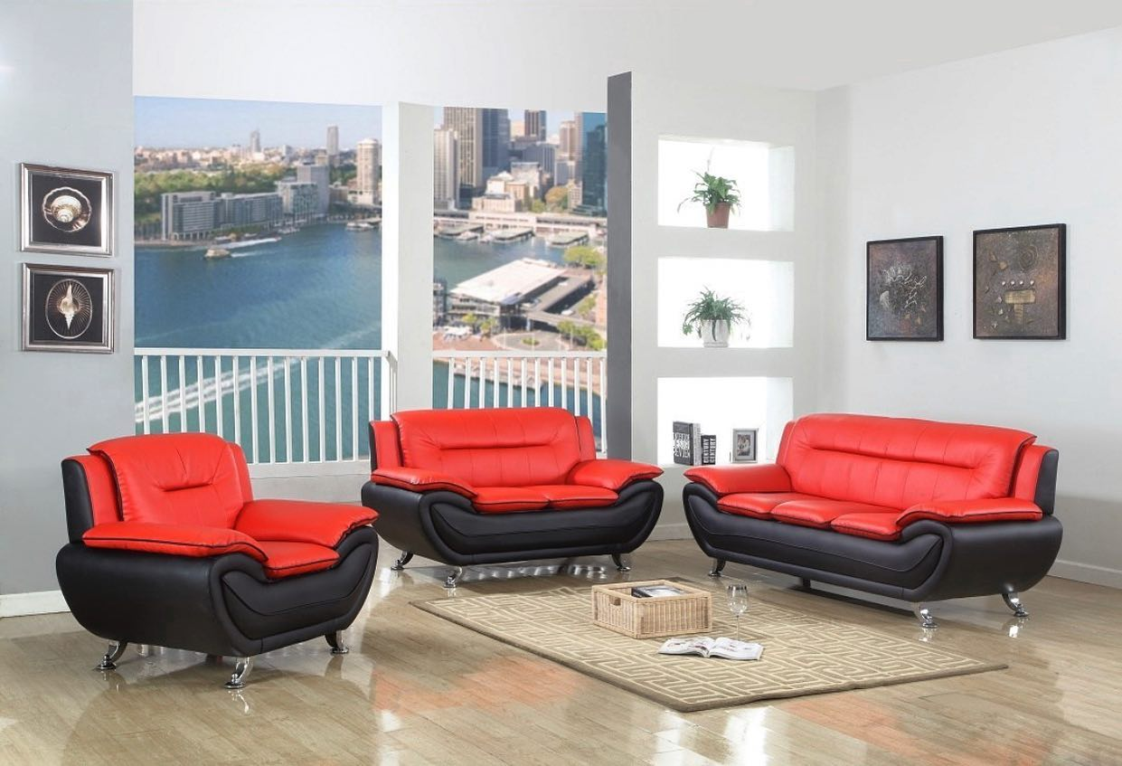 SPECIAL] Matilda Red/Black 3-Piece Living Room Set | 870 – Luna ...