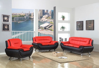 [SPECIAL] Matilda Red/Black 3-Piece Living Room Set | 870