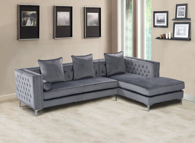 Ava Gray Velvet RAF Sectional