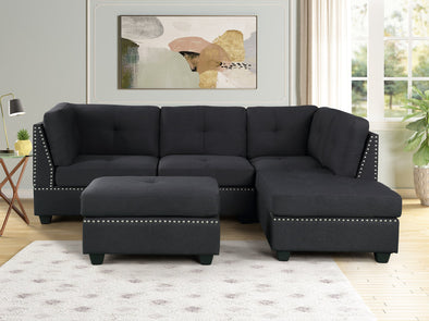 Sienna Black Linen Sectional with Ottoman