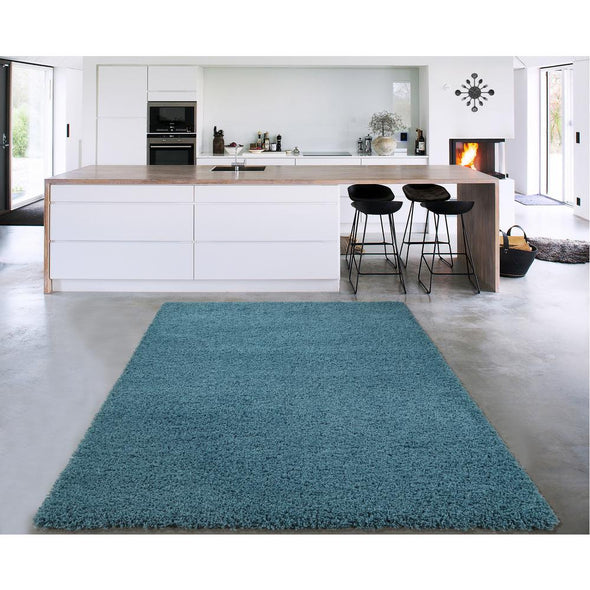 Cozy Solid Turquoise Shaggy Area Rug - 5X7