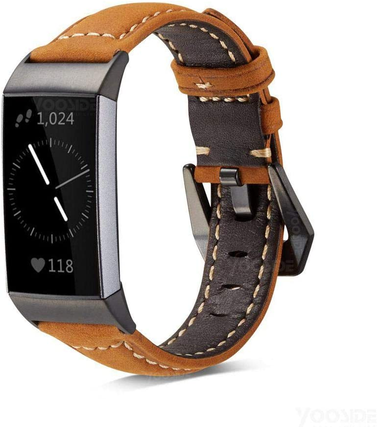 Yooside fitbit charge 3 band leather strap