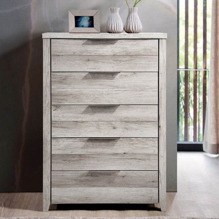 Alice Tallboy Dresser 5 Chest of Drawers Table Cabinet Bedroom Storage White Ash